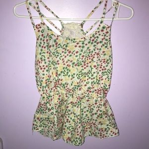 Girls Floral laced tank top